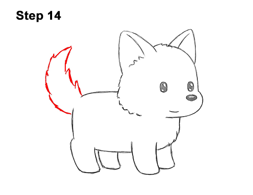 How to Draw Cute Cartoon German Shepherd Puppy Dog 14