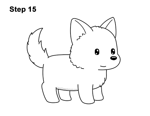 How to Draw Cute Cartoon German Shepherd Puppy Dog 15