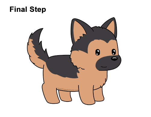How to Draw Cute Cartoon German Shepherd Puppy Dog