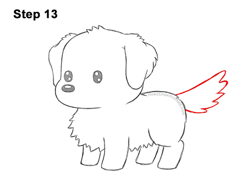 How to Draw a Cute Cartoon Golden Retriever Puppy Dog Chibi Kawaii 13
