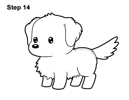 How to Draw a Cute Cartoon Golden Retriever Puppy Dog Chibi Kawaii 14