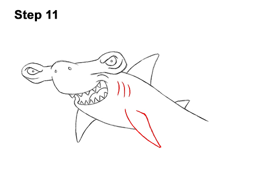 How to Draw a Cool Cartoon Hammerhead Shark 11
