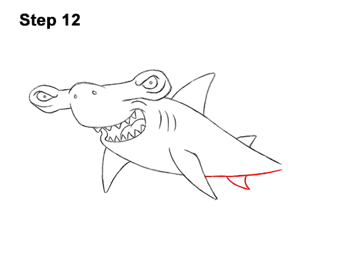 How to Draw a Cool Cartoon Hammerhead Shark 12