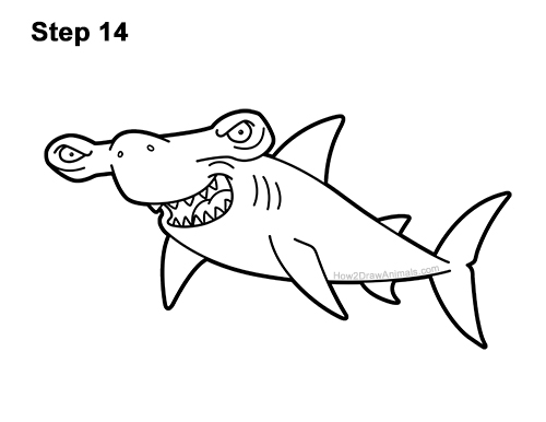 How to Draw a Cool Cartoon Hammerhead Shark 14