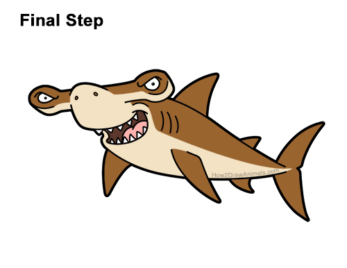 How to Draw a Cool Cartoon Hammerhead Shark