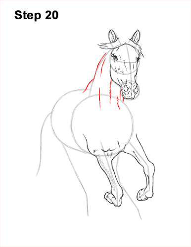 How to Draw Horse Running Front Forward 20