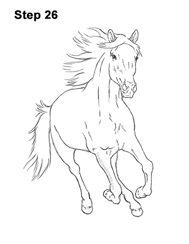 How to Draw Horse Running Front Forward 26