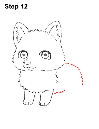 How to Draw a Cute Chibi Little Mini Cartoon Husky Puppy Dog 12