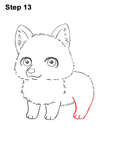 How to Draw a Cute Chibi Little Mini Cartoon Husky Puppy Dog 13