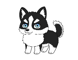 How to draw a cute Husky Puppy Dog cartoon