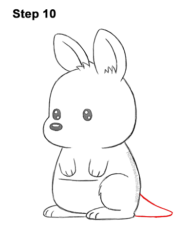 How to Draw a Cute Cartoon Kangaroo Chibi Kawaii 10