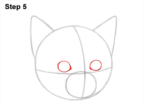 How to Draw Cute Cat Kitten Head Face Portrait 5