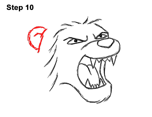 How to Draw Tough Cool Angry Cartoon Lion Roaring 10