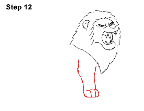 How to Draw Tough Cool Angry Cartoon Lion Roaring 12