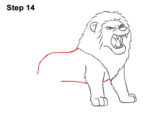 How to Draw Tough Cool Angry Cartoon Lion Roaring 14