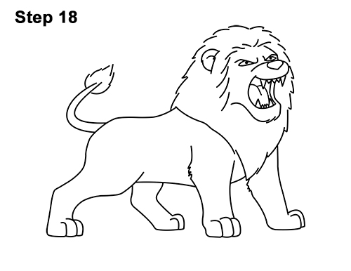 How to Draw Tough Cool Angry Cartoon Lion Roaring 18