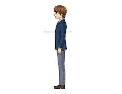 How to Draw a Manga Boy Full Body in a School Uniform Side View