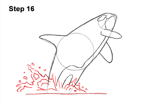 How to Draw a Killer Whale Orca Breaching Jumping 16