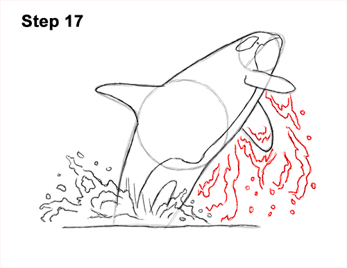 How to Draw a Killer Whale Orca Breaching Jumping 17