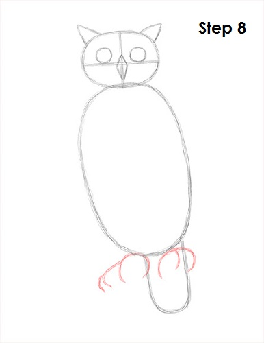 Draw Great Horned Owl 8