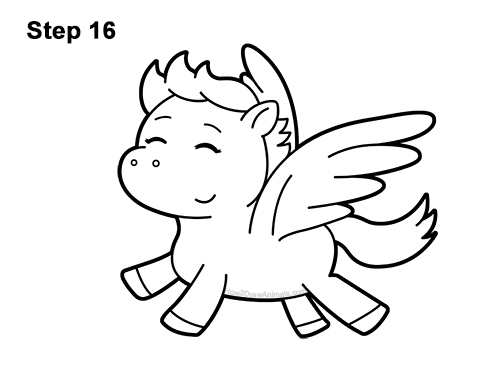 How to Draw Cute Cartoon Pegasus Wings Chibi Kawaii 16