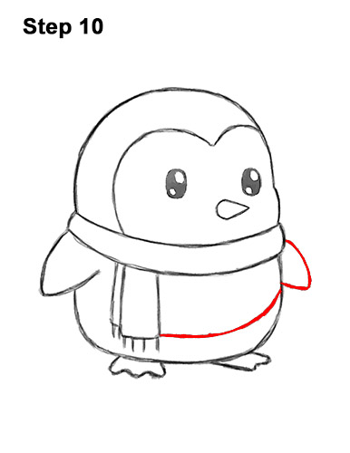 How to Draw Cute Cartoon Penguin Scarf 10