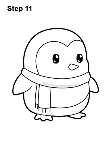 How to Draw Cute Cartoon Penguin Scarf 11