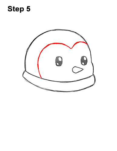 How to Draw Cute Cartoon Penguin Scarf 5
