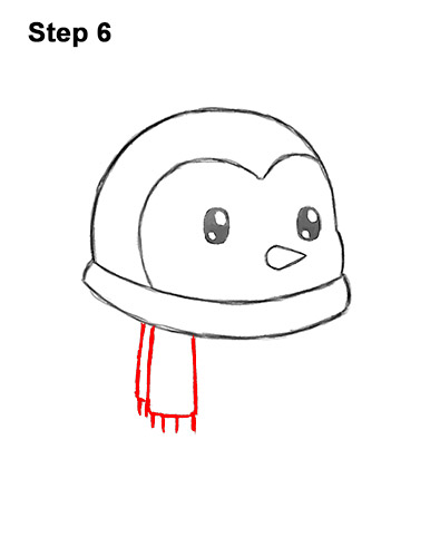How to Draw Cute Cartoon Penguin Scarf 6