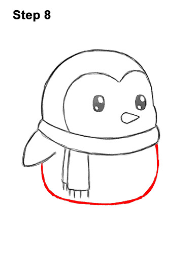 How to Draw Cute Cartoon Penguin Scarf 8