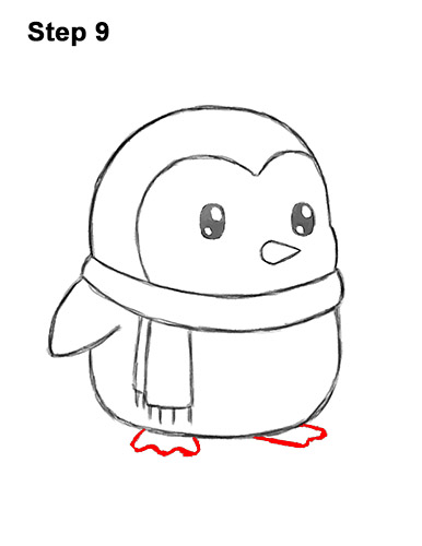 How to Draw Cute Cartoon Penguin Scarf 9