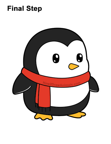 How to Draw Cute Cartoon Penguin Scarf