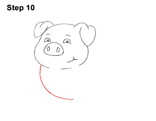 How to Draw a Cute Little Mini Funny Cartoon Pig Piglet 10