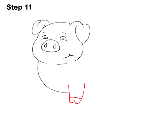 How to Draw a Cute Little Mini Funny Cartoon Pig Piglet 11