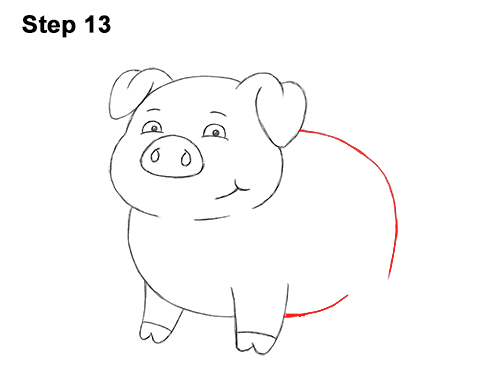 How to Draw a Cute Little Mini Funny Cartoon Pig Piglet 13