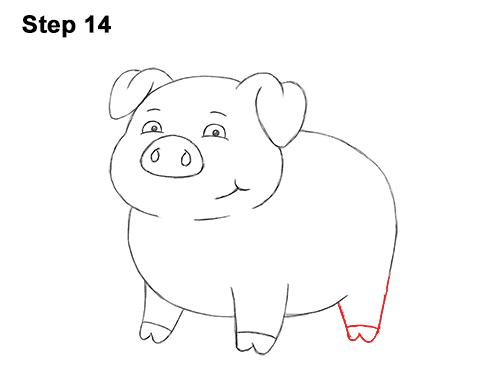 How to Draw a Cute Little Mini Funny Cartoon Pig Piglet 14