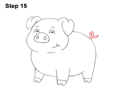 How to Draw a Cute Little Mini Funny Cartoon Pig Piglet 15