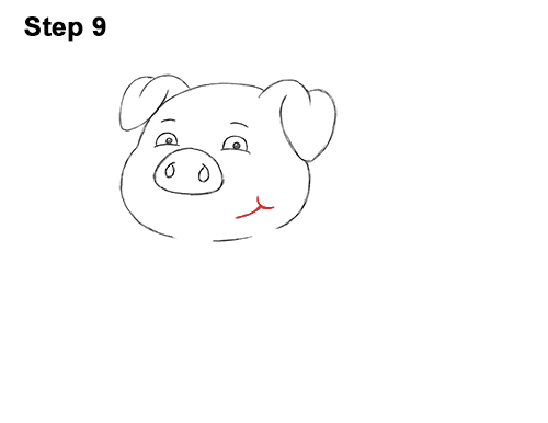 How to Draw a Cute Little Mini Funny Cartoon Pig Piglet 9