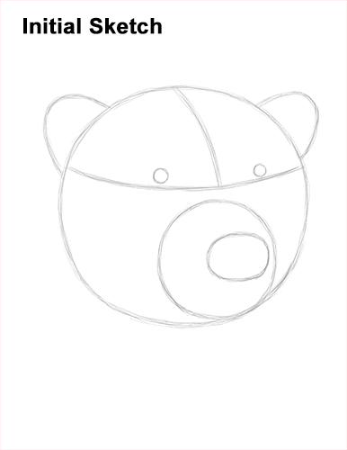 How to Draw a Polar Bear Portrait Head Face Guides Lines