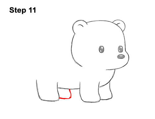 How to Draw Cute Cartoon Polar Bear 11