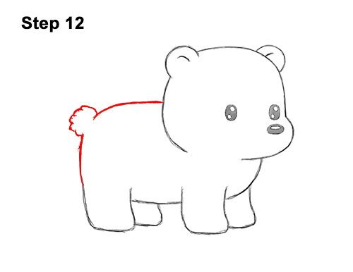How to Draw Cute Cartoon Polar Bear 12