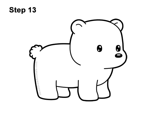 How to Draw Cute Cartoon Polar Bear 13