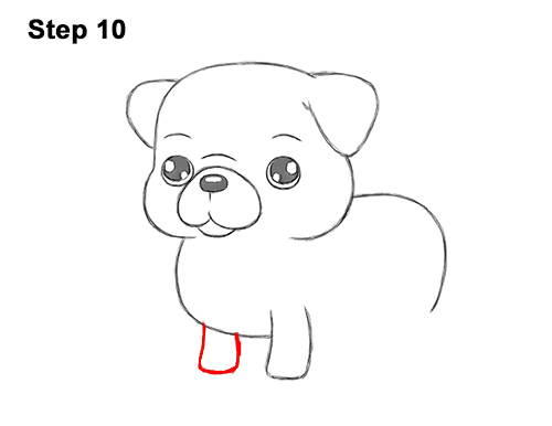 How to Draw Cute Cartoon Pug Puppy Dog Chibi Kawaii 10