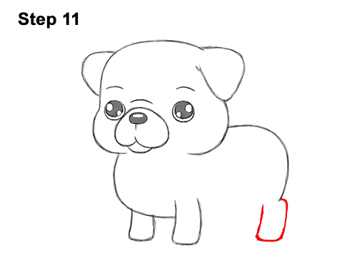 How to Draw Cute Cartoon Pug Puppy Dog Chibi Kawaii 11