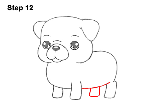 How to Draw Cute Cartoon Pug Puppy Dog Chibi Kawaii 12