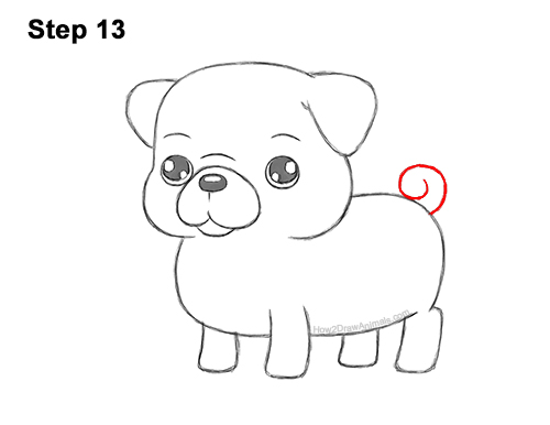 How to Draw Cute Cartoon Pug Puppy Dog Chibi Kawaii 13