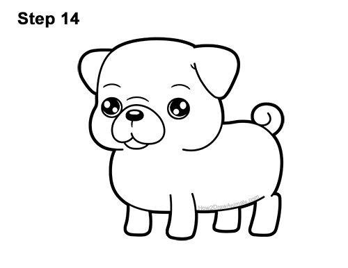 How to Draw Cute Cartoon Pug Puppy Dog Chibi Kawaii 14