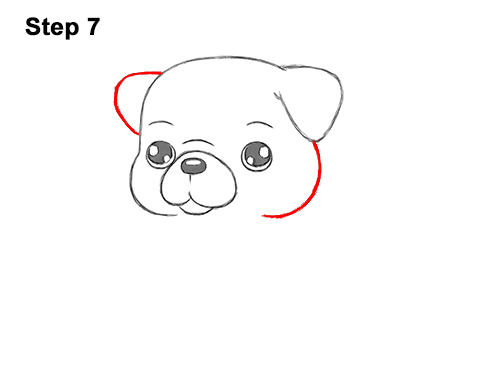 How to Draw Cute Cartoon Pug Puppy Dog Chibi Kawaii 7