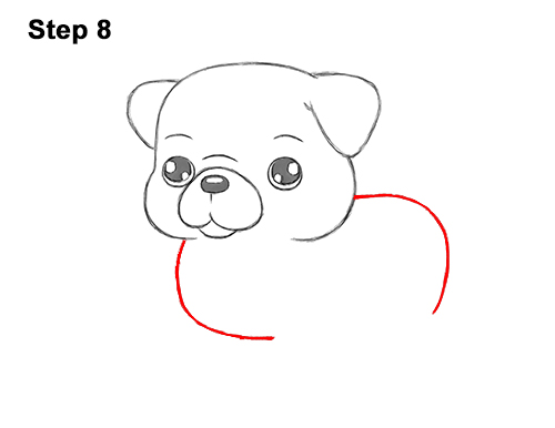 How to Draw Cute Cartoon Pug Puppy Dog Chibi Kawaii 8