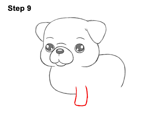 How to Draw Cute Cartoon Pug Puppy Dog Chibi Kawaii 9